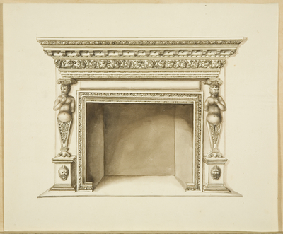 Fireplace at Broomwell House, Brislington, originally from Creswicke's [Creswick's] House in Small Street