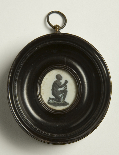 Jasperware plaque, in frame, made by Josiah Wedgwood, c.1790 - 'Am I Not a Man and a Brother?'. Abolition plaque.