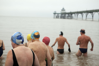 England. Somerset. Clevedon. Swimming in the Severn Estuary 2009.