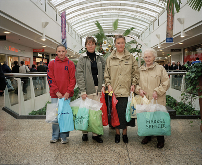 England. Bristol. Cribbs Causeway Shopping Centre. Four Generations of One Family. 2002