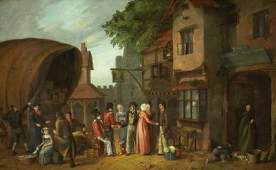 Scene outside an Inn, perhaps at Congresbury, Somerset