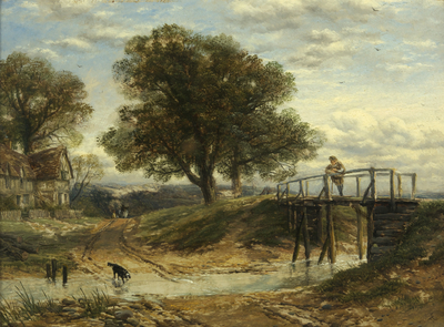 Landscape with Stream, Bridge and Cottage