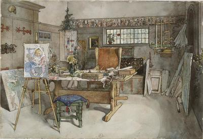 Image from object titled The Studio. From A Home (26 watercolours)
