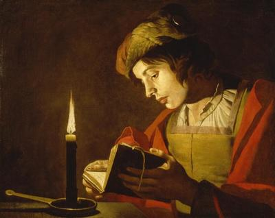 A Young Man Reading by Candlelight