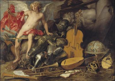 Image from object titled Triumphant Cupid among Emblems of Art and War