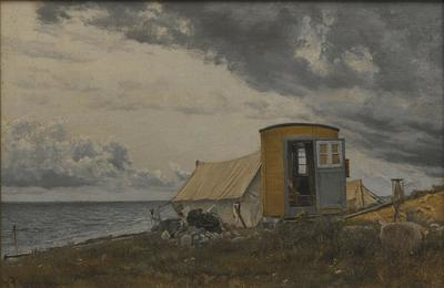 Image from object titled View of a Shore with the Artist's Wagon and Tent at Enö