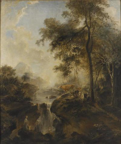Image from object titled Landscape with a Waterfall and Cattle