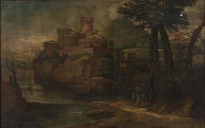 Image from object titled Kristus med två lärjungar i Emmaus