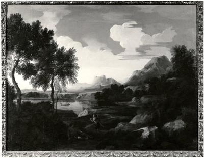 Landscape with Huntsmen, Mountains and a Lake | Gaspard Dughet