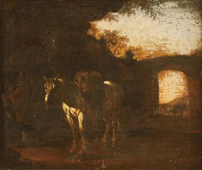 Landscape with Ruins and a Saddled White Horse