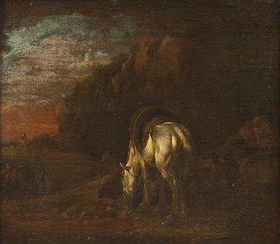 Landscape with a White Horse Grazing
