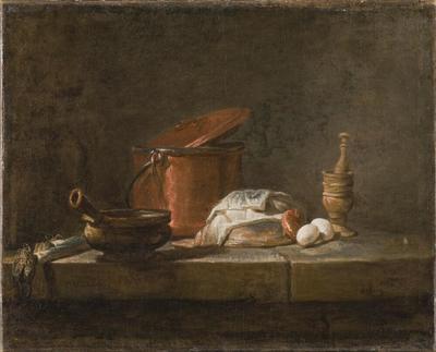 Image from object titled Stilleben med köksutensilier och grönsaker
