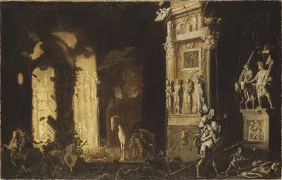 Image from object titled The Burning of Troy with the Flight of Aeneas and Anchises