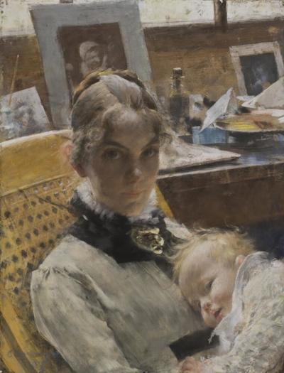 Image from object titled A Studio Idyll. The Artist's Wife and their Daughter