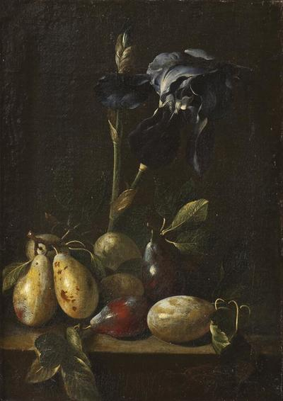 Still Life with an Iris and Plums