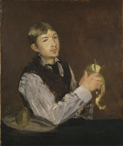 Image from object titled Young Boy Peeling a Pear