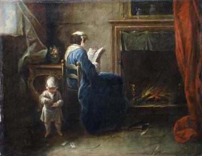 Woman Reading in front of a Fireplace