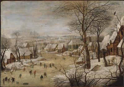Image from object titled Winter Landscape with Skaters and a Bird Trap