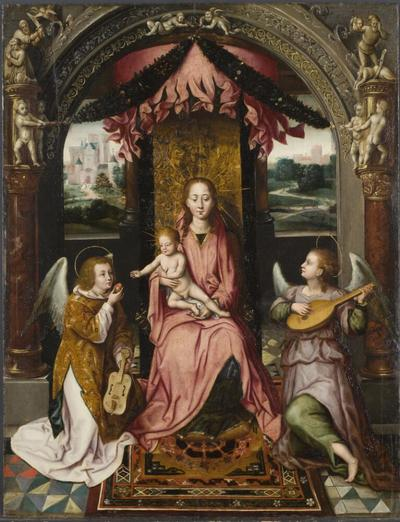 """Image from object titled Madonna and Child. Detail from the """"St John Altar"""""""