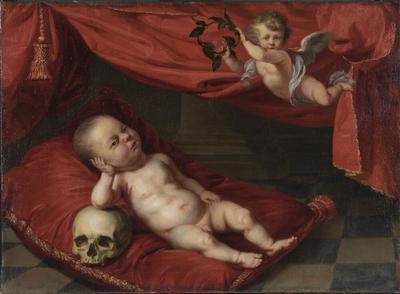 Image from object titled Porträtt av avliden gosse med vanitasmotiv