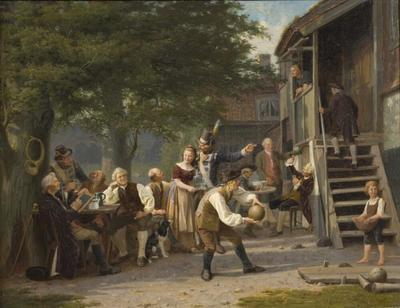 Image from object titled Skittles at Faggen's. Scene from Fredman's Epistle 55 by Bellman