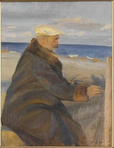 Michael Ancher Painting on the Shore