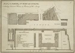 PLAN of the PARISH of ST. MARY LE STRAND, including Somerset House, & Precinct of the Savoy.