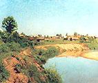 Деревня на берегу реки; A village at the River