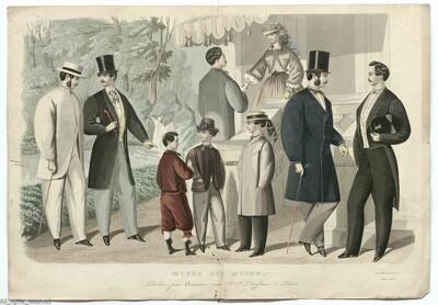 2 met de hand ingekleurde gravures met mannenmode A. 5 mannen en twee jongens in dagkledij, 4 mannen met hoge hoeden, 1 en eenj jongen met een bolhoed juin 1860 B. 4 mannen en drie jongesn in dagkledij, drie mannen met...