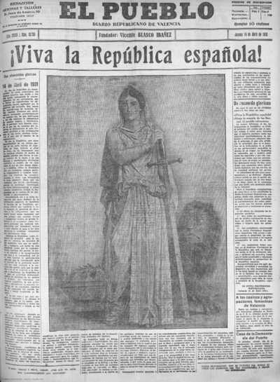 Image from object titled El Pueblo : diario republicano de Valencia: El Pueblo : diario republicano de Valencia - Año XXXIX Número 13730 - 1932 abril 14 (14/04/1932)