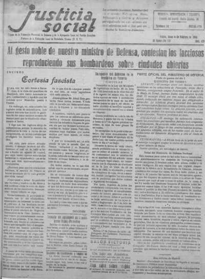 Image from object titled Justicia social : Órgano de la Federación Socialista Menorquina y de la Federación Obrera de Menorca: Epoca III Año VIII Número 473 - 1938 Febrero 07