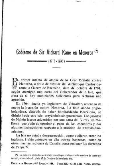 Image from object titled Revista de Menorca : Ciencias, artes y letras: Año XXVIII Época 5ª Época Tomo XIX Cuaderno XI y XII - 1924 Noviembre