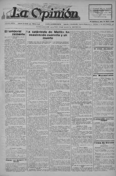 Image from object titled La Opinión : diario independiente de la mañana: Epoca Segunda Año VI Número 1454 - 1928 Septiembre 27