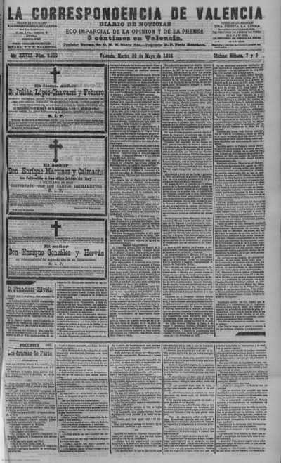 Image from object titled La correspondencia de Valencia : diario de noticias : eco imparcial de la opinión y de la prensa: Año XXVIII Número 9500 - 1905 Mayo 30