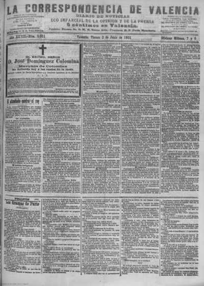 Image from object titled La correspondencia de Valencia : diario de noticias : eco imparcial de la opinión y de la prensa: Año XXVIII Número 9503 - 1905 Junio 02