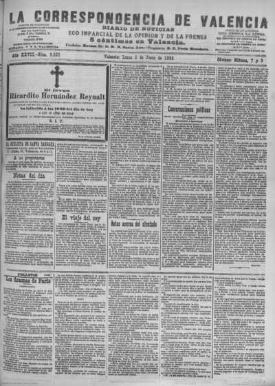 Image from object titled La correspondencia de Valencia : diario de noticias : eco imparcial de la opinión y de la prensa: Año XXVIII Número 9505 - 1905 Junio 05