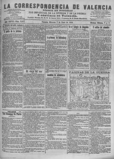 Image from object titled La correspondencia de Valencia : diario de noticias : eco imparcial de la opinión y de la prensa: Año XXVIII Número 9507 - 1905 Junio 07