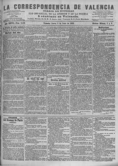 Image from object titled La correspondencia de Valencia : diario de noticias : eco imparcial de la opinión y de la prensa: Año XXVIII Número 9508 - 1905 Junio 08