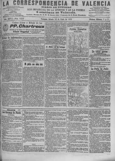 Image from object titled La correspondencia de Valencia : diario de noticias : eco imparcial de la opinión y de la prensa: Año XXVIII Número 9510 - 1905 Junio 10