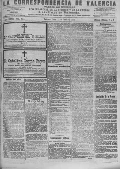 Image from object titled La correspondencia de Valencia : diario de noticias : eco imparcial de la opinión y de la prensa: Año XXVIII Número 9511 - 1905 Junio 12