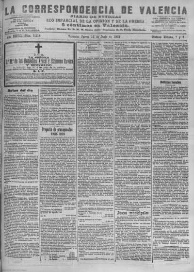 Image from object titled La correspondencia de Valencia : diario de noticias : eco imparcial de la opinión y de la prensa: Año XXVIII Número 9514 - 1905 Junio 15