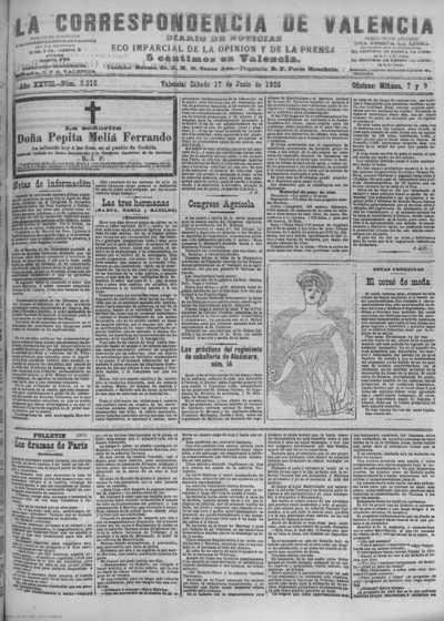 Image from object titled La correspondencia de Valencia : diario de noticias : eco imparcial de la opinión y de la prensa: Año XXVIII Número 9516 - 1905 Junio 17