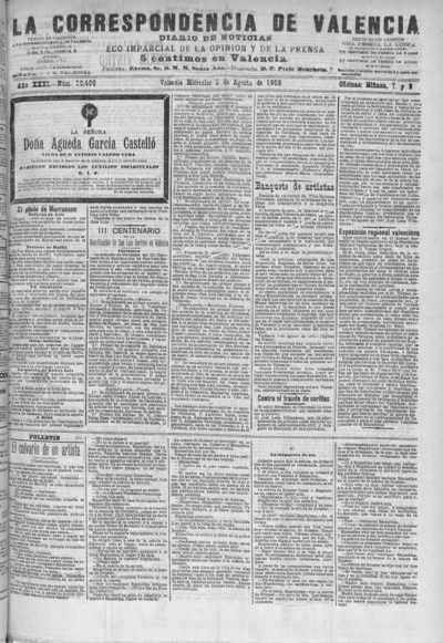Image from object titled La correspondencia de Valencia : diario de noticias : eco imparcial de la opinión y de la prensa: Año XXXI Número 10498 - 1908 Agosto 05