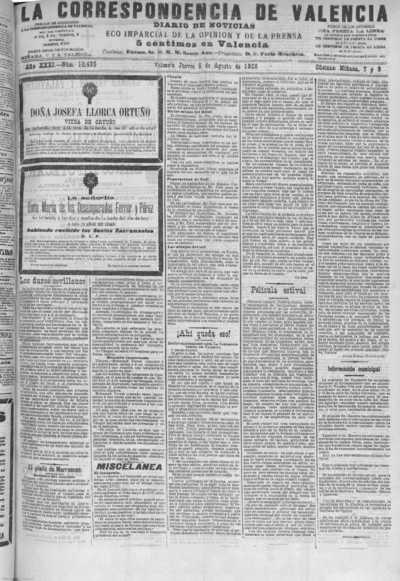 Image from object titled La correspondencia de Valencia : diario de noticias : eco imparcial de la opinión y de la prensa: Año XXXI Número 10499 - 1908 Agosto 06