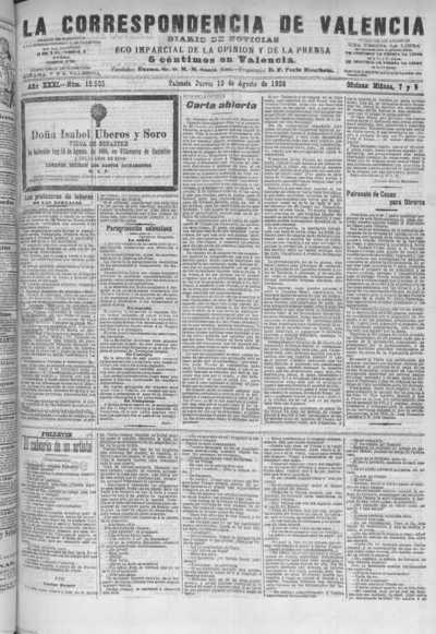 Image from object titled La correspondencia de Valencia : diario de noticias : eco imparcial de la opinión y de la prensa: Año XXXI Número 10505 - 1908 Agosto 13