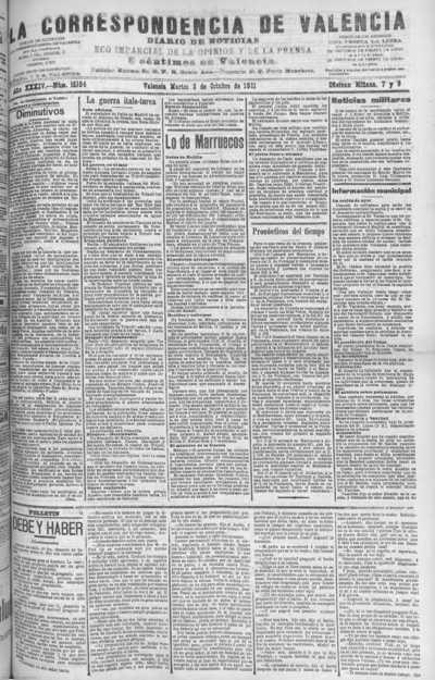 Image from object titled La correspondencia de Valencia : diario de noticias : eco imparcial de la opinión y de la prensa: Año XXXIV Número 15184 - 1911 Octubre 03