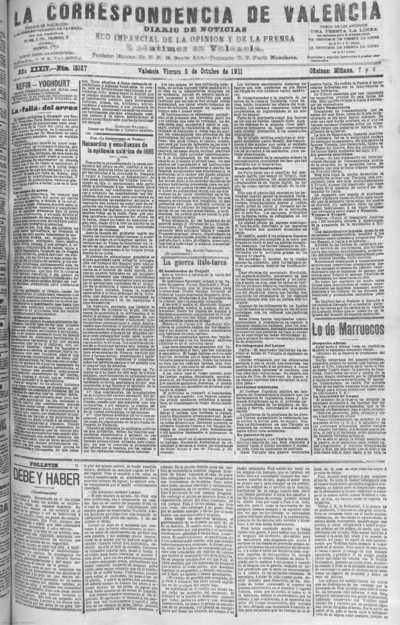 Image from object titled La correspondencia de Valencia : diario de noticias : eco imparcial de la opinión y de la prensa: Año XXXIV Número 15187 - 1911 Octubre 06