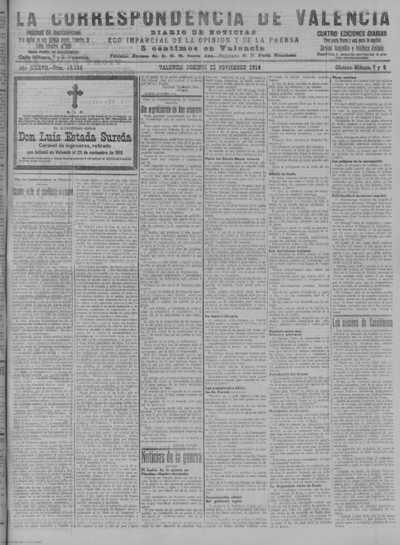 Image from object titled La correspondencia de Valencia : diario de noticias : eco imparcial de la opinión y de la prensa: Año XXXVII Número 16168 - 1914 Noviembre 22