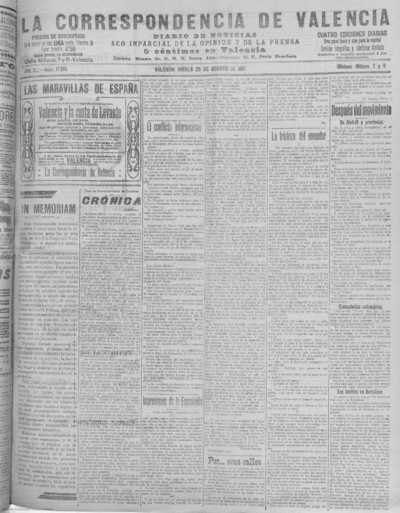 Image from object titled La correspondencia de Valencia : diario de noticias : eco imparcial de la opinión y de la prensa: Año XL Número 17166 - 1917 Agosto 23