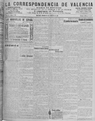 Image from object titled La correspondencia de Valencia : diario de noticias : eco imparcial de la opinión y de la prensa: Año XL Número 17168 - 1917 Agosto 25
